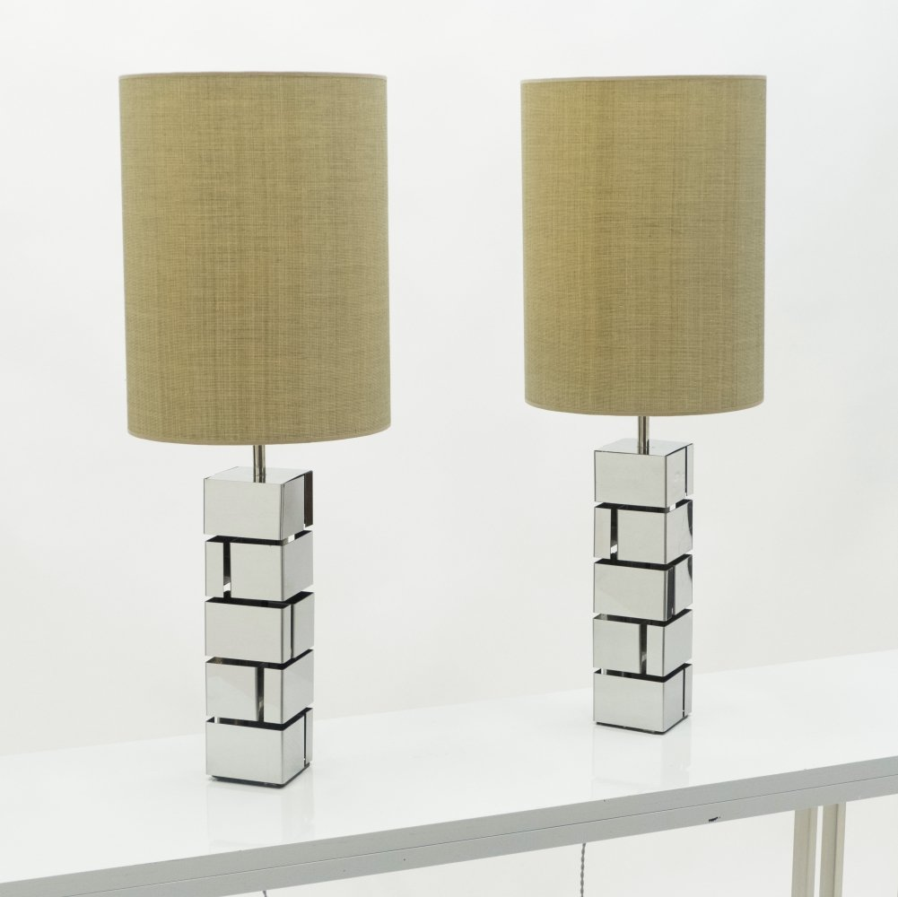 Pair of Mid-century Curtis Jere chrome lamps, 1970s