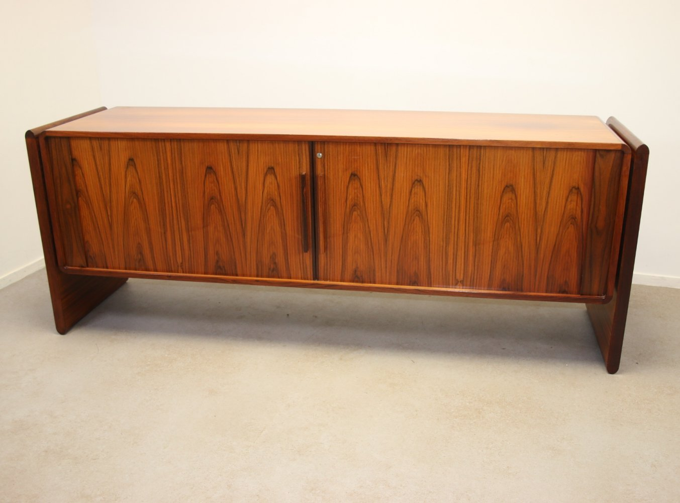Rosewood Dyrlund sideboard with roller doors, 1960s
