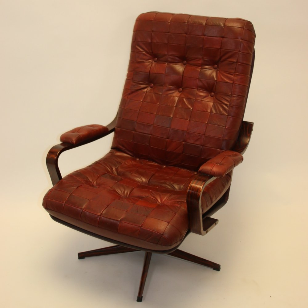 Swedish Rotatable Red Leather Armchair, 1970s