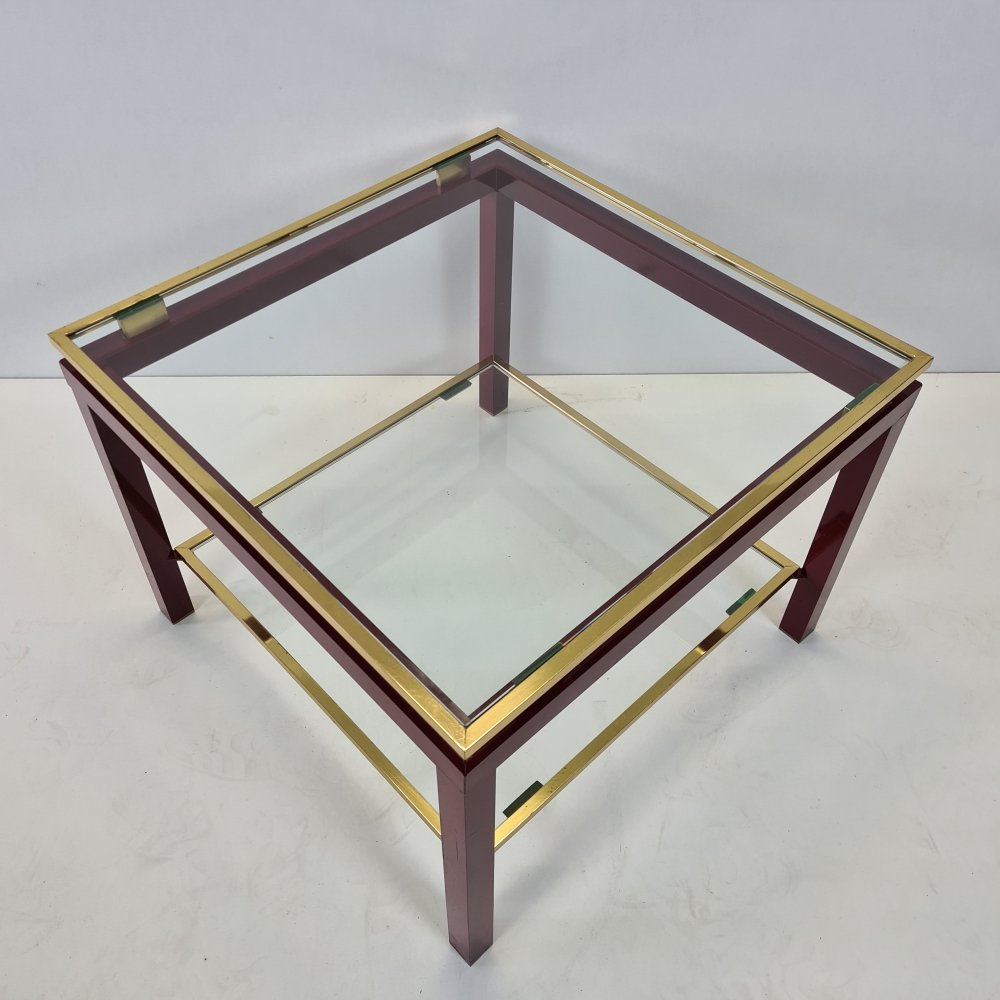 French red & gold colored 2-tiers side table, 1970s