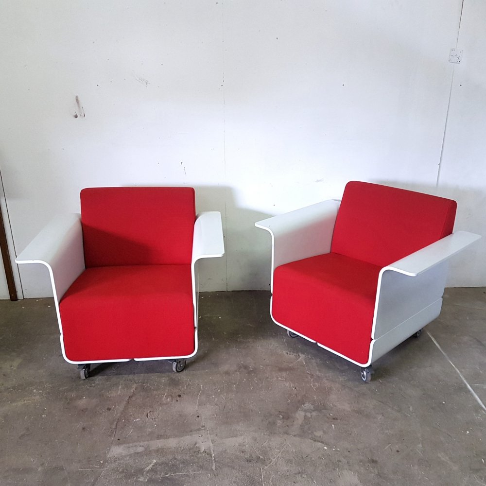 Set of 2 post modern plywood arm chairs, Italy 1980s