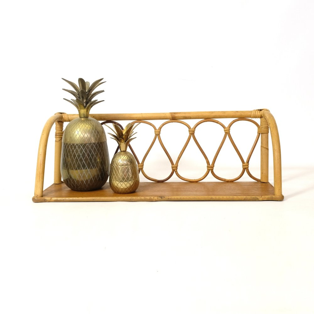 Rattan shelf from the 1960s-1970s