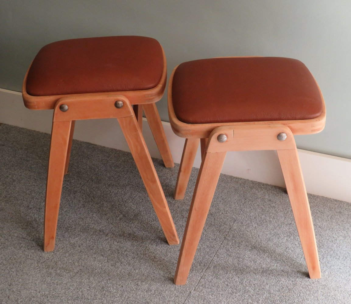 Set of 2 leather stools by Benchairs, Somerset U.K. 1960s