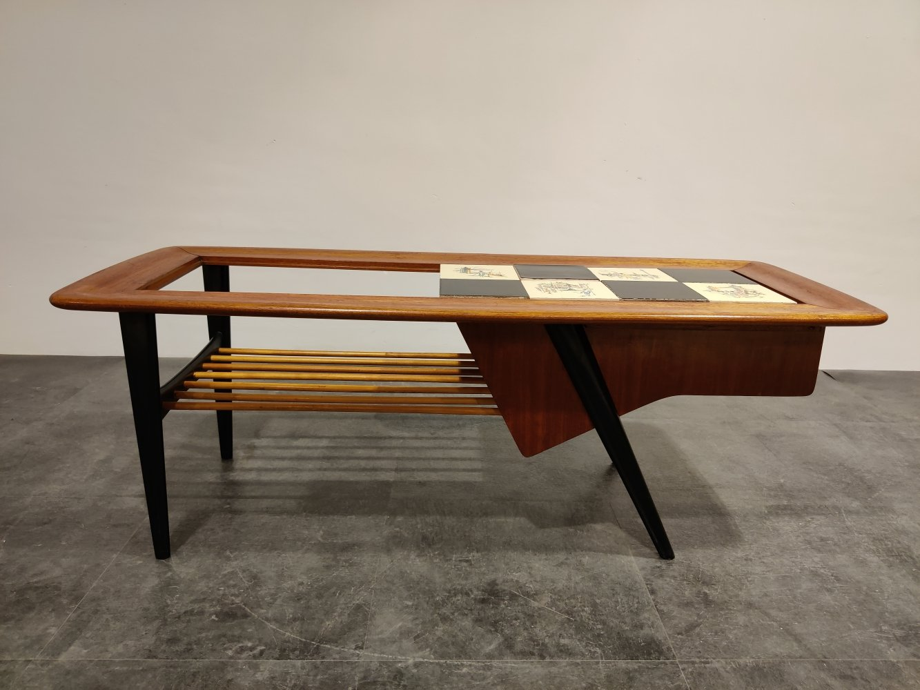 Vintage hidden bar coffee table by Alfred Hendrickx for Belfom, 1950s