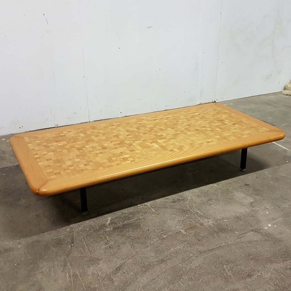 Oak mosaic coffee table with steel legs, 1960s