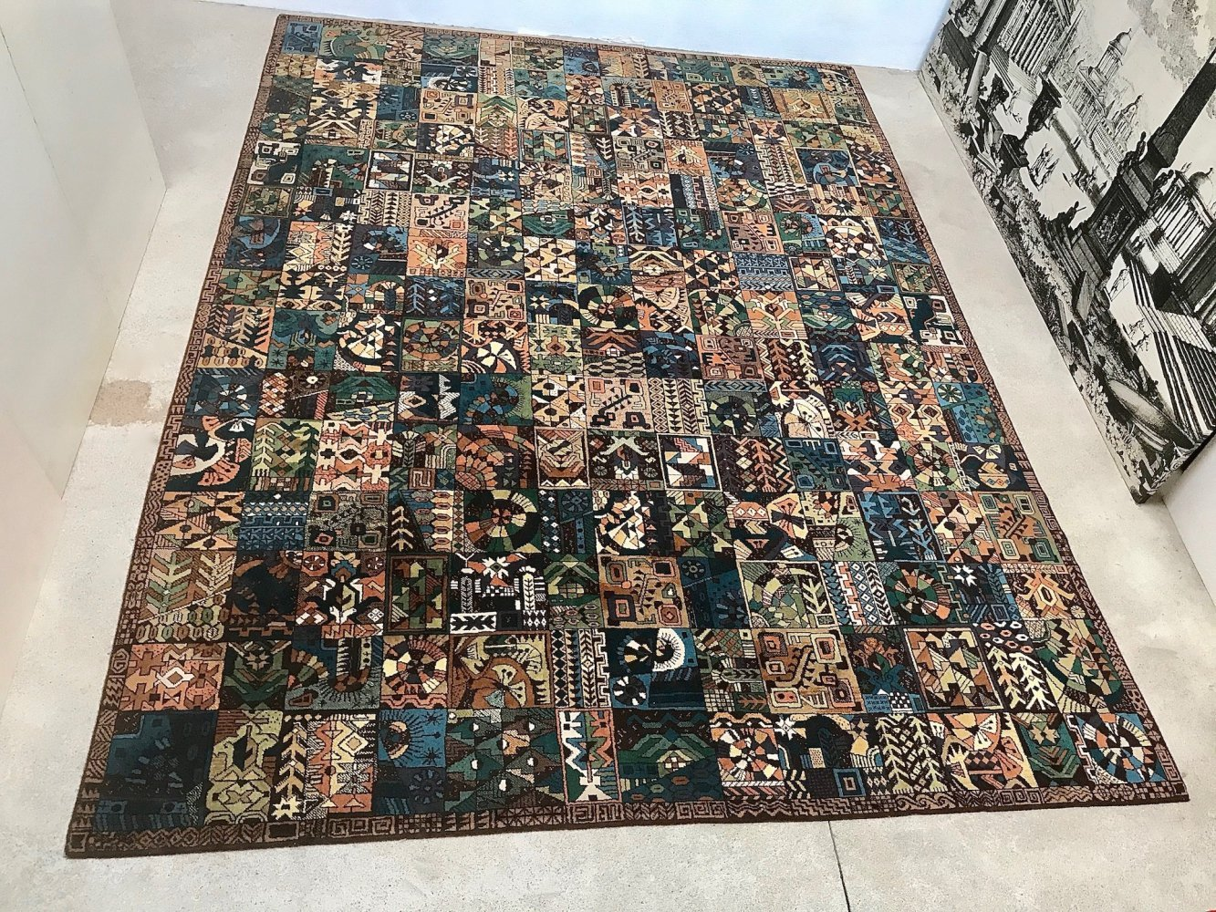 Large German Parsa Collection Abstract Graphic Artist Rug by Vorwerk, 1960s