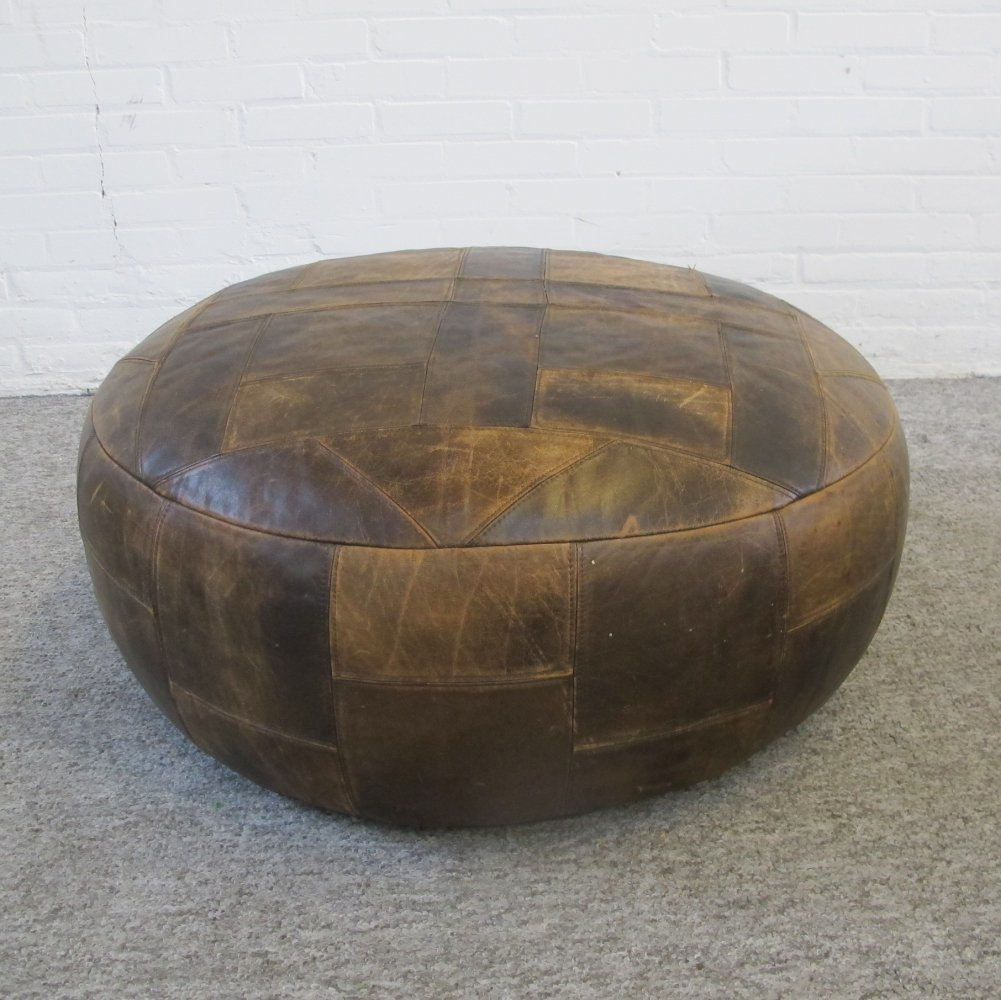 Vintage big round brown leather patchwork pouf, 1970s