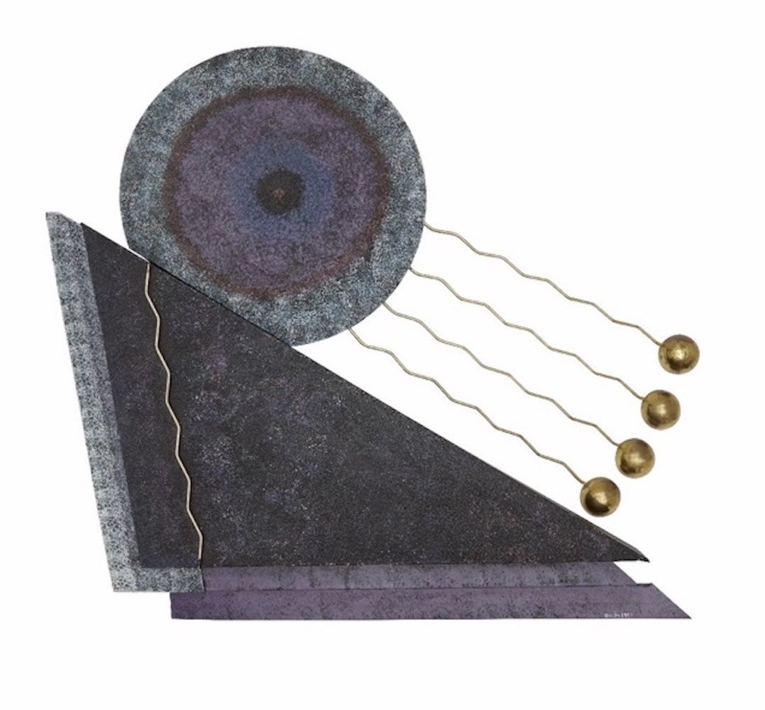 Modern abstract design wall sculpture by Curtis Jeré, signed 1993
