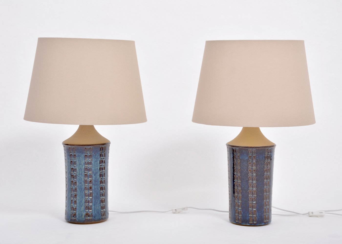 Pair of tall blue Mid-Century-Modern table lamps by Maria Philippi for Soholm