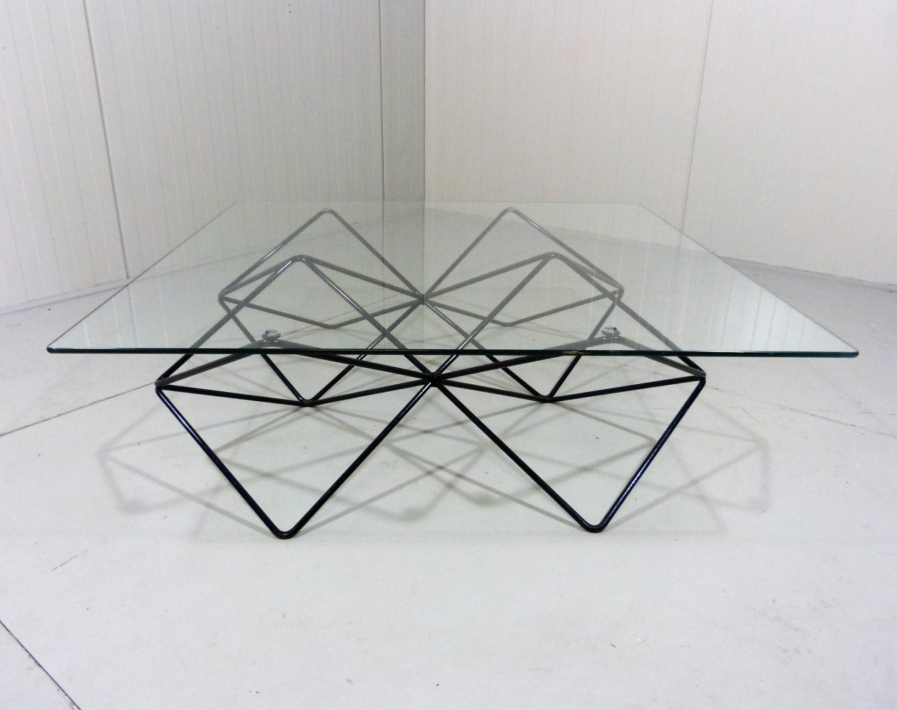 Black steel wire & glass coffee table, 1980