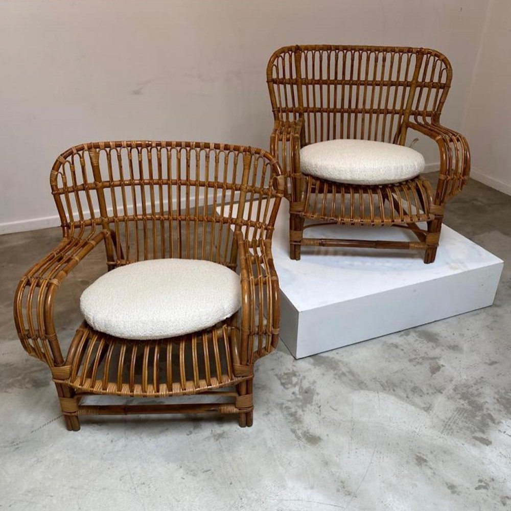 Pair of bamboo easy chairs, 1970s