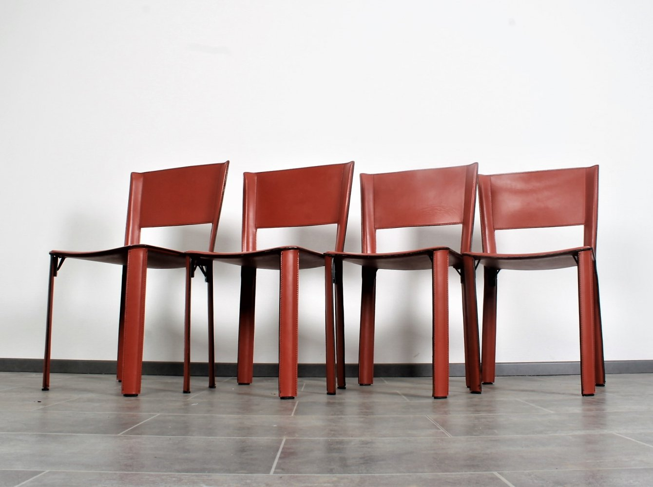 Set of 4 saddle leather Fasem S91 chairs by Giancarlo Vegni, 1980s