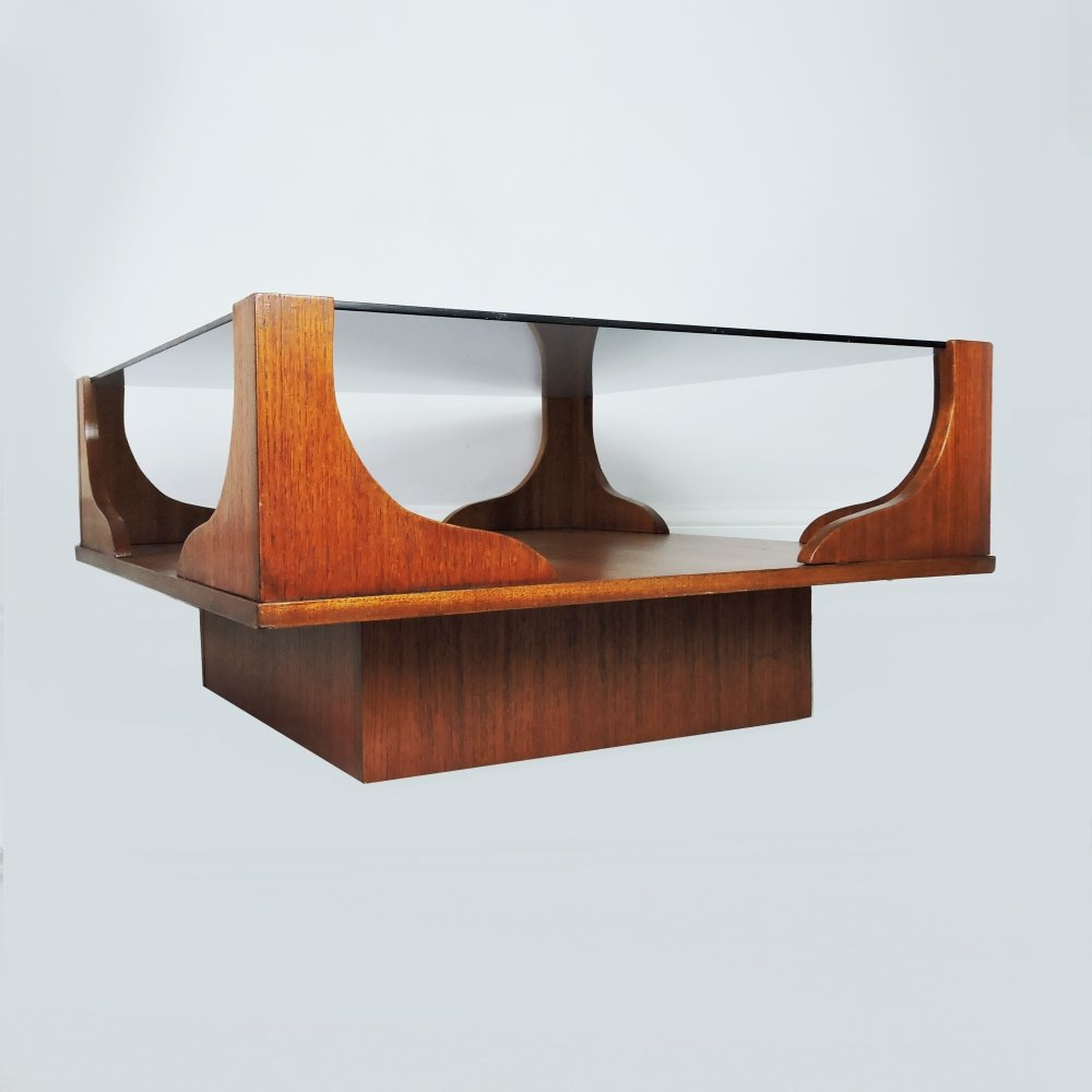 Vintage Wooden Square Coffee Table, 1960s