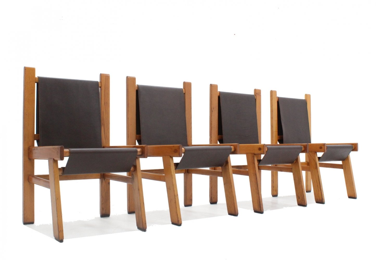 Set of 4 vintage leather dining chairs, 1970s