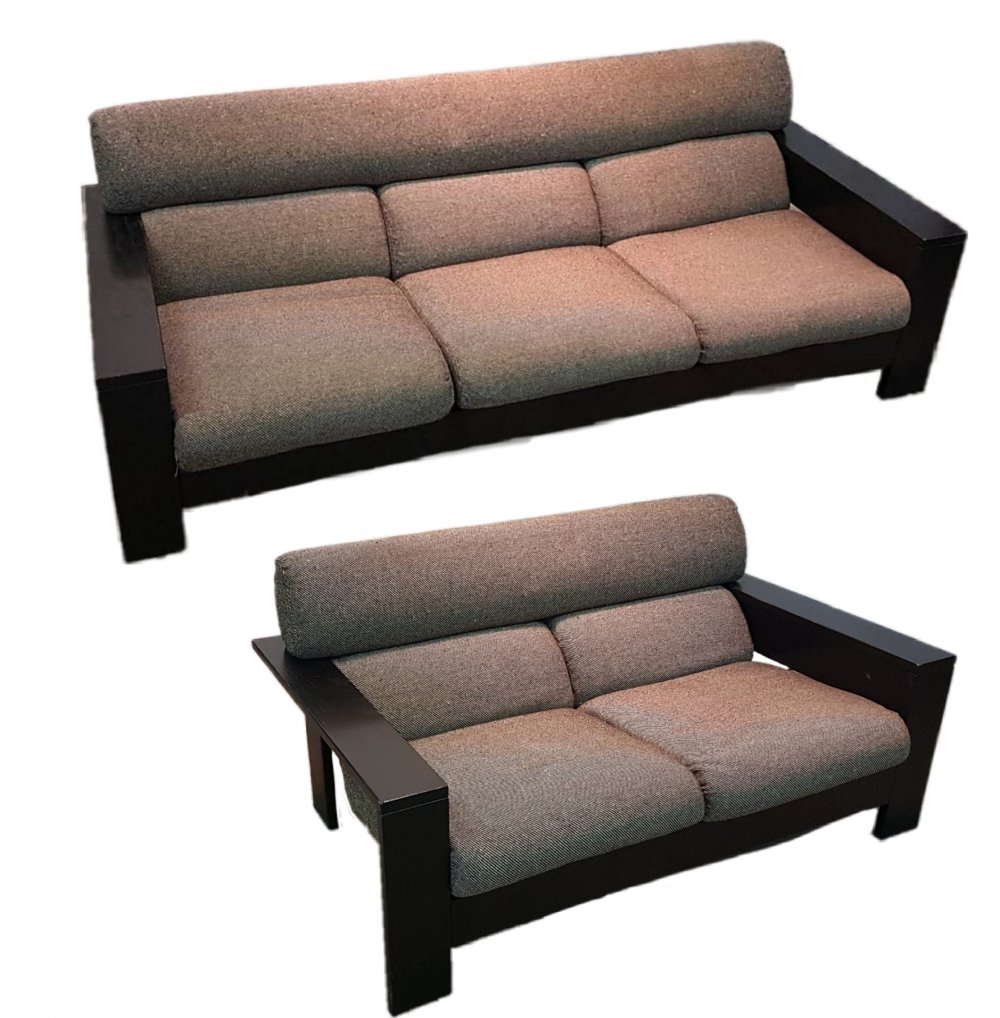 Minimalist seating group in wood & wool fabric, Netherlands 1970s