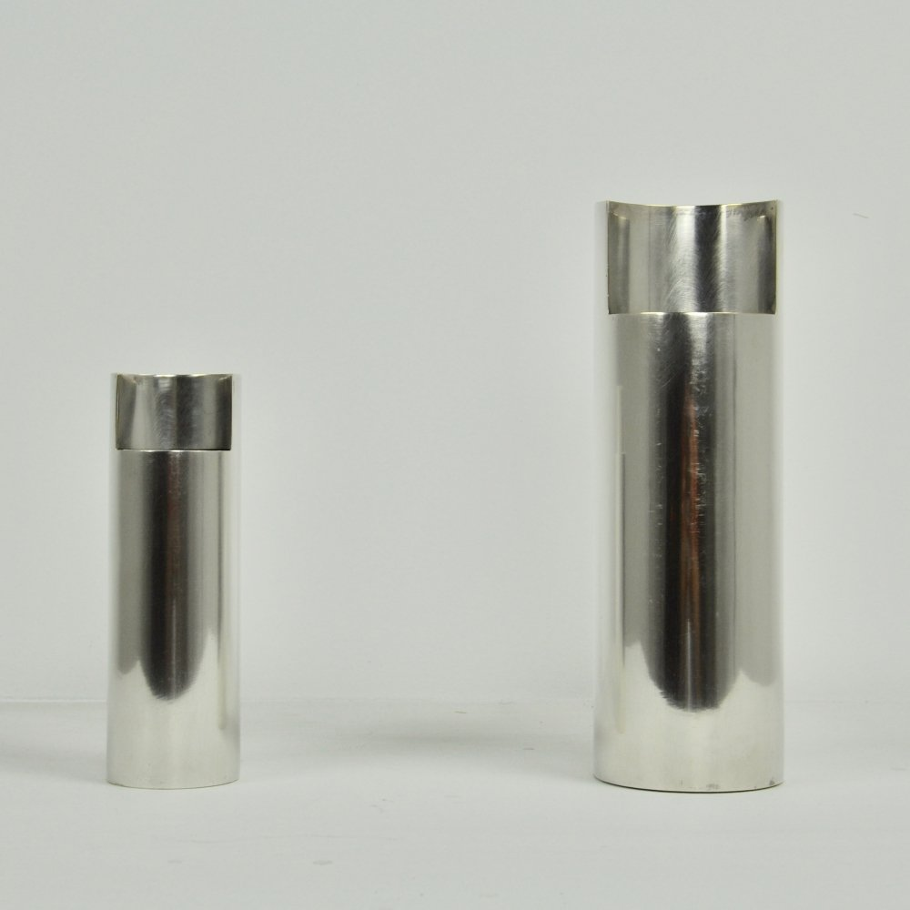 Pair of silver vases, 1980s