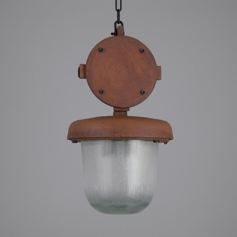 Oxidised Czech industrial 1950s pendant lights