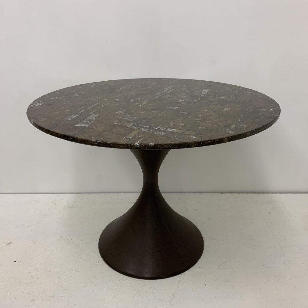Mid-century dining table with fossile stone marble top, 1970