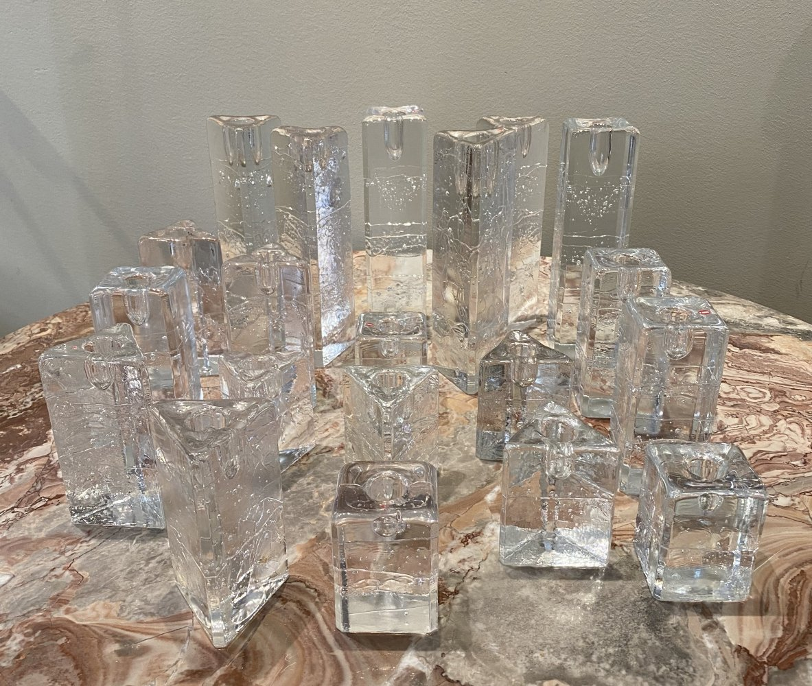 Set of 20 Archipelago glass candlesticks by Timo Sarpaneva for Iittala Finland