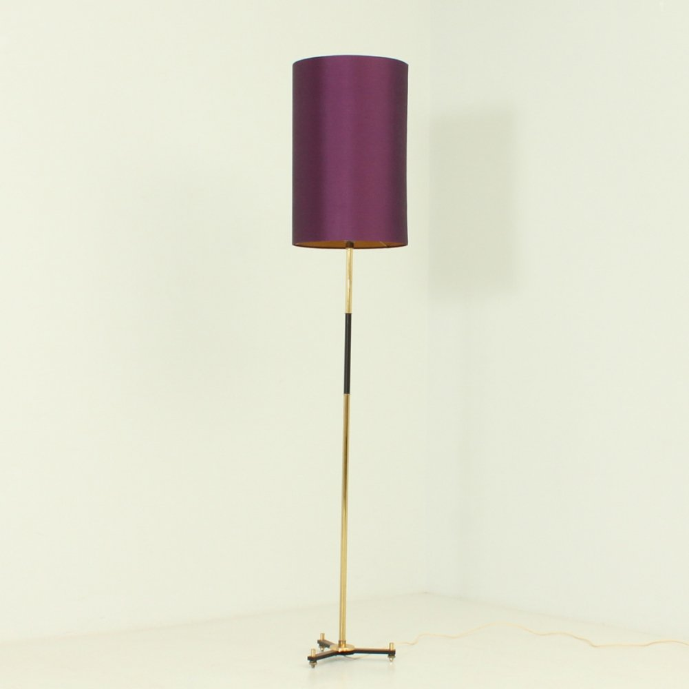Standing Lamp with Silk Fabric Shade, Spain 1960