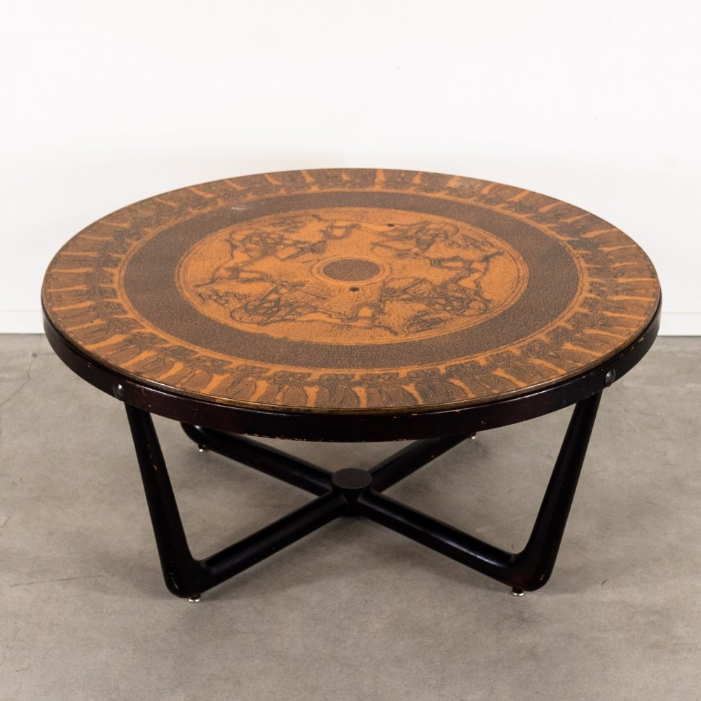 Danish coffee table with copper inlaid, 1960