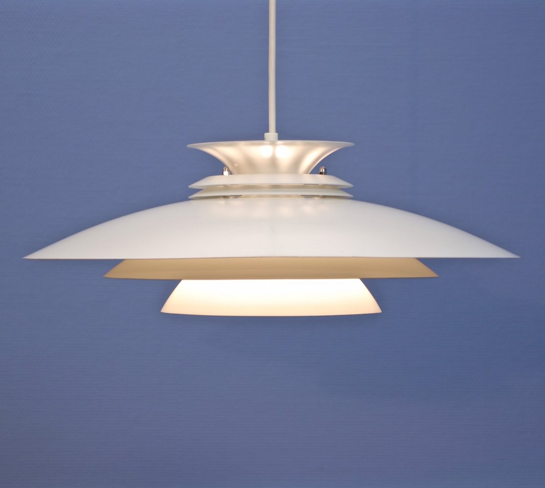 XL Danish hanging lamp in white by Form Light, 1970s