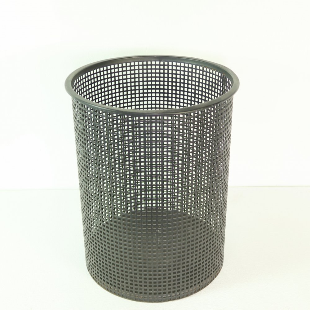 Black perforated metal garbage can by Pilastro, 1960s