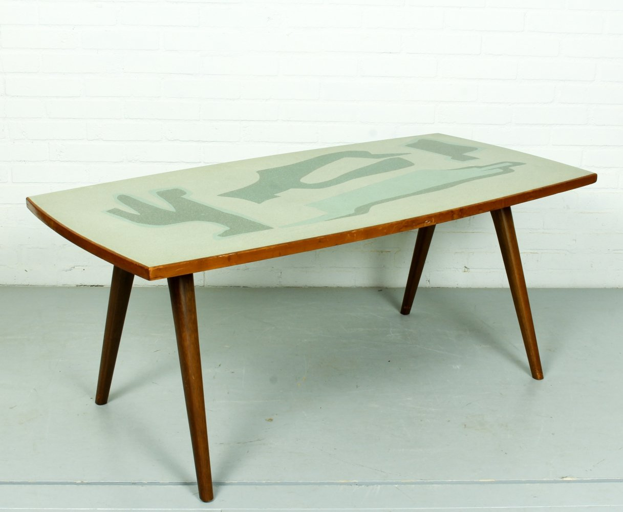 Mid Century Birch table with formica top, 1950s