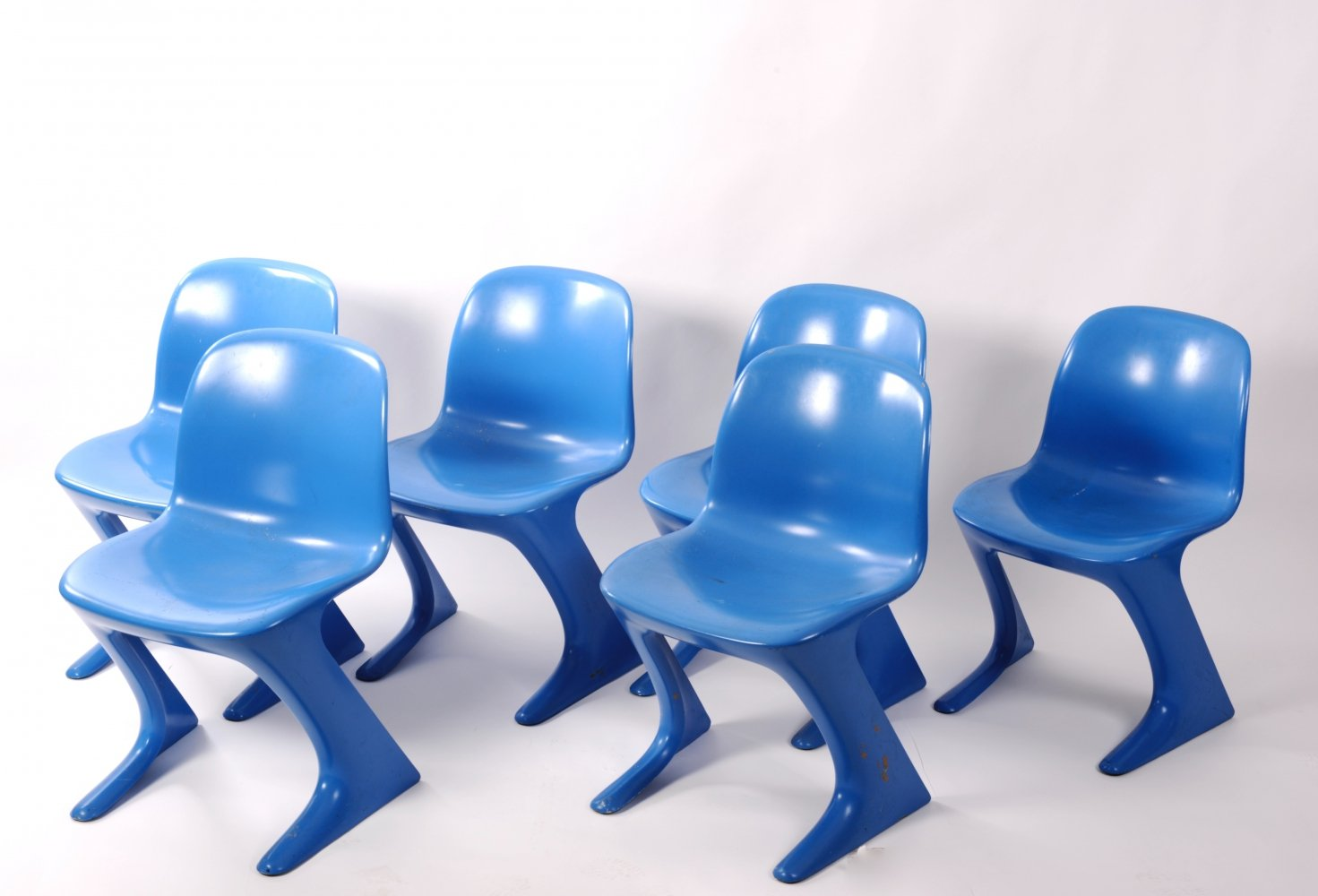 Six Kangaroo or Z chairs by Ernst Moeckl for Horn KG