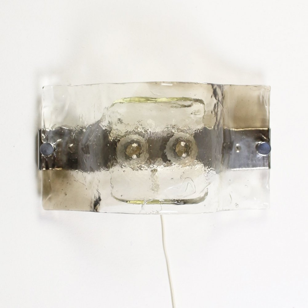 Brutalist ice glass wall lamp by Carlo Nason for Kalmar