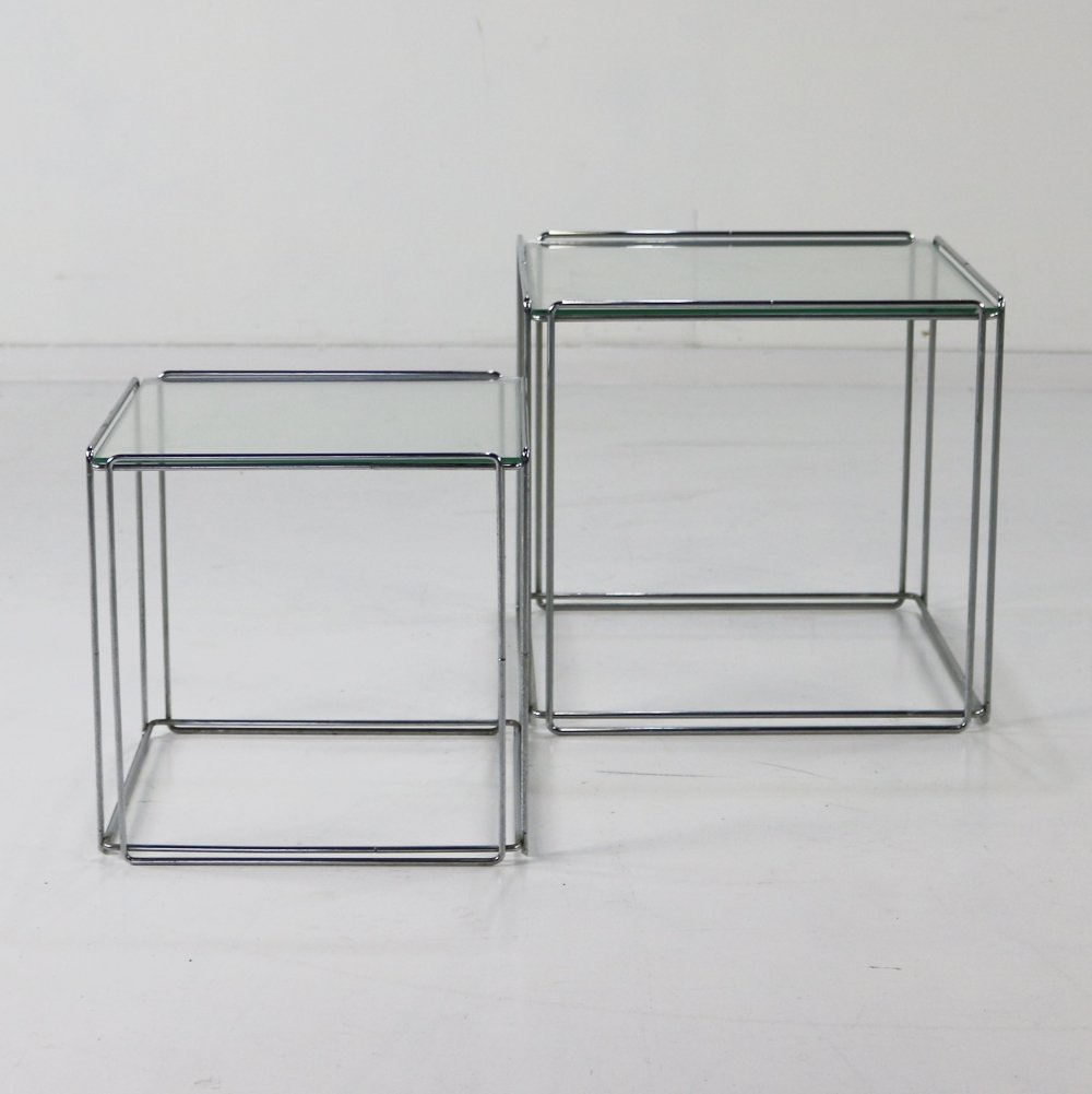 Set of two chromed metal nesting tables by Max Sauze
