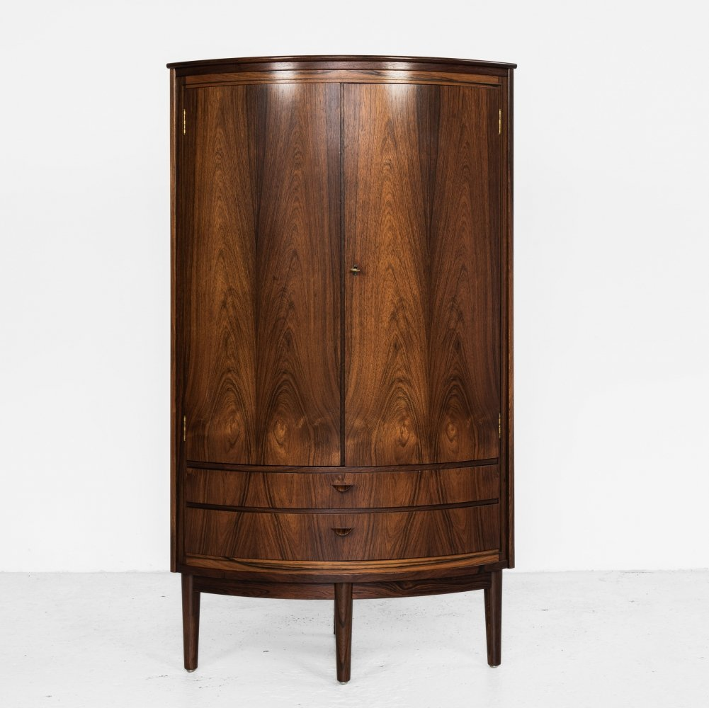Midcentury Danish corner cabinet in rosewood with bowed front, 1960s