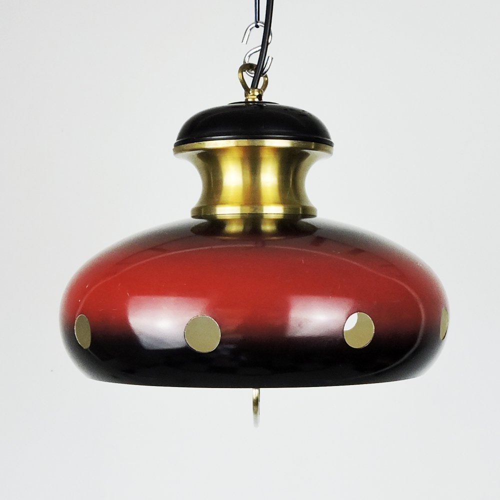 Pair of Red & Gold Space Age Pendant Lamps, 1960s