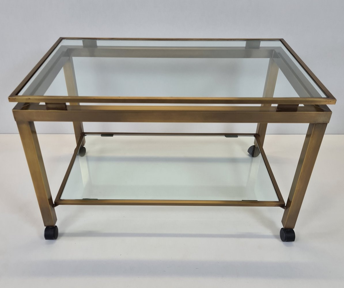 French brass & glass 2-tiers mobile side table trolley
