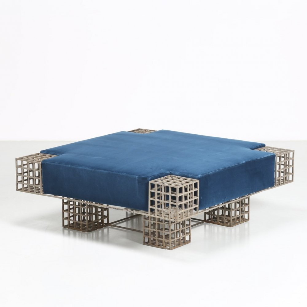 Modern Italian metal & blue velvet center bench by Carla Sozzani, 1970s