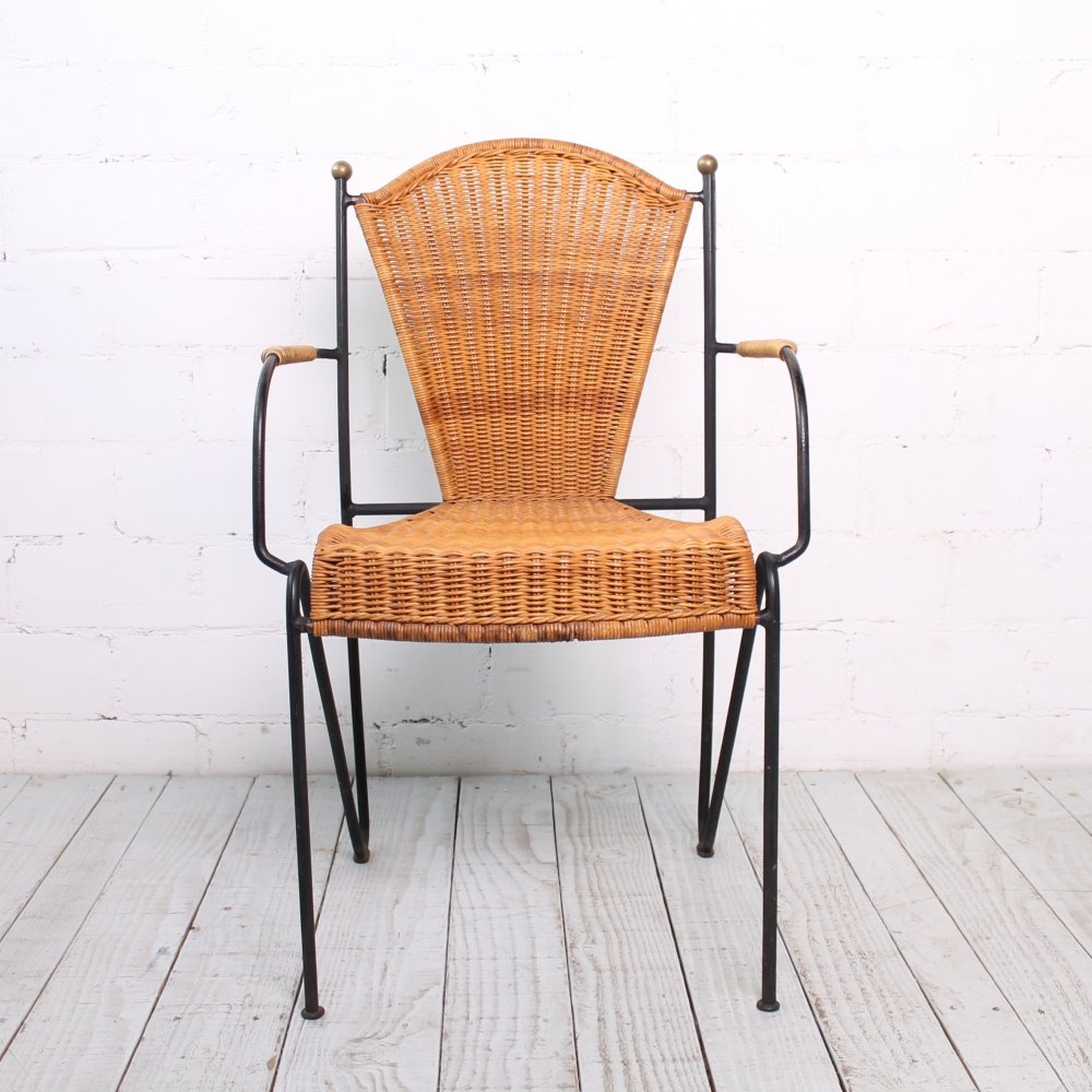 Vintage Chair made of Steel & Rattan