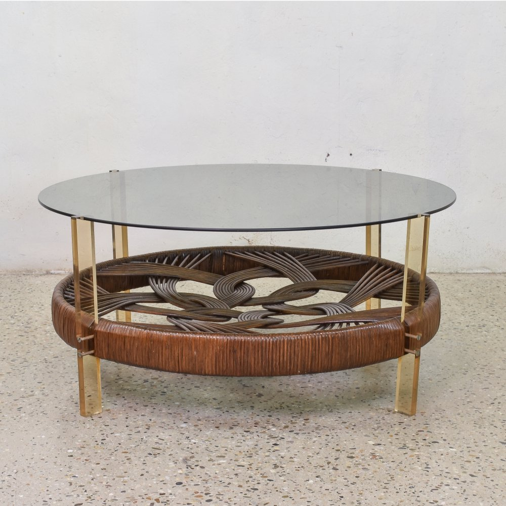 Smoked Glass & Rattan Coffee Table, 1970s