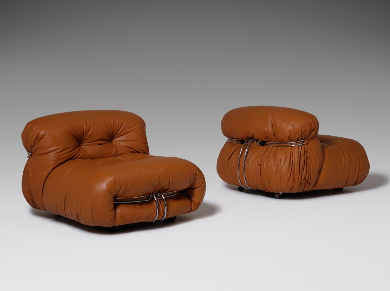 Soriana Lounge chairs in Cognac leather by Afra & Tobia Scarpa, Italy 1969