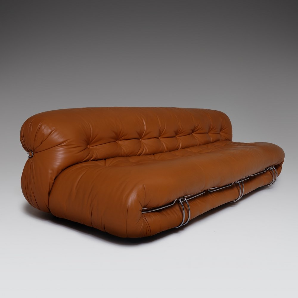 Soriana Three Seater Sofa in Cognac leather by Afra & Tobia Scarpa, Italy 1969