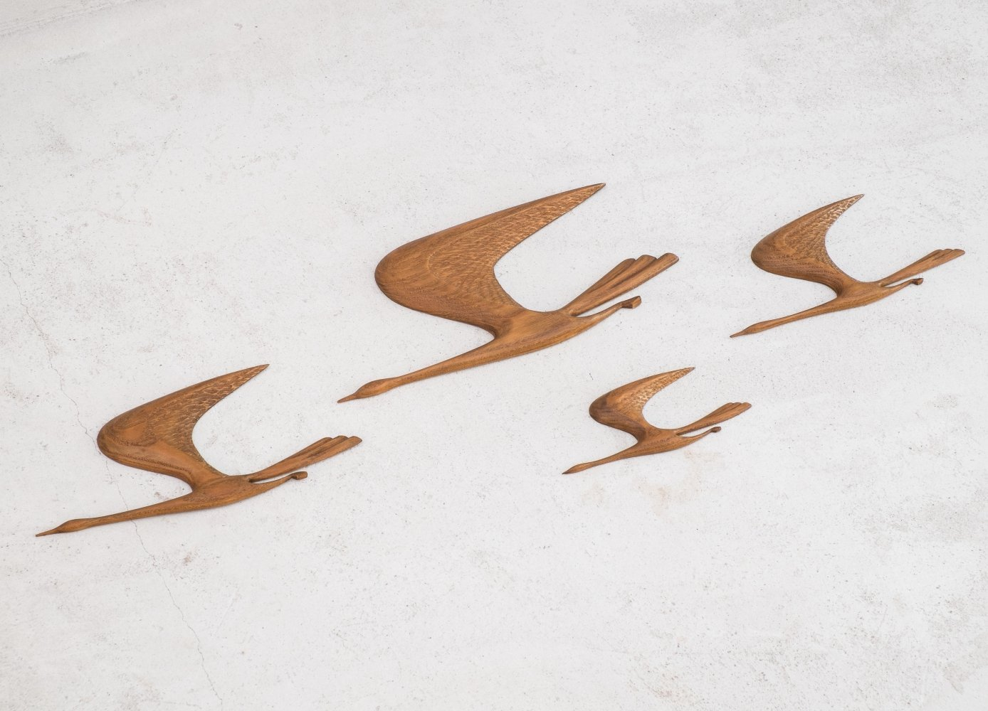 Set of 4 Mid Century teak flying birds, 1960s