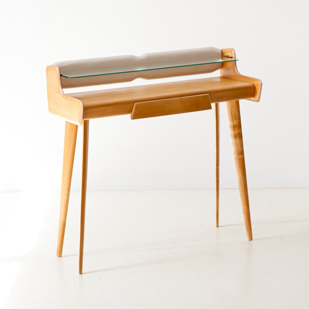 Italian Beechwood White Leather Brass & Glass Console Table