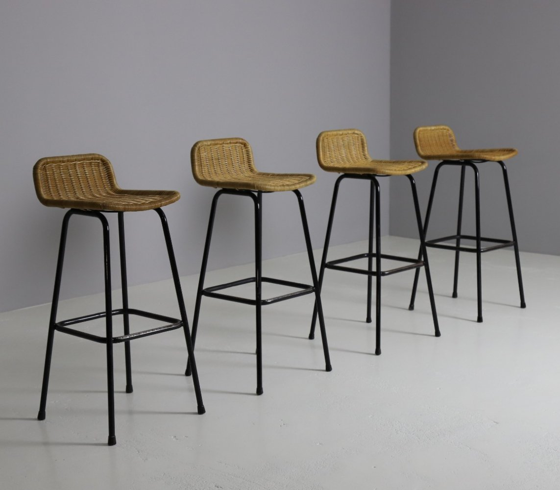 Set of 4 high bar stools by Rohé Noordwolde, 1960s