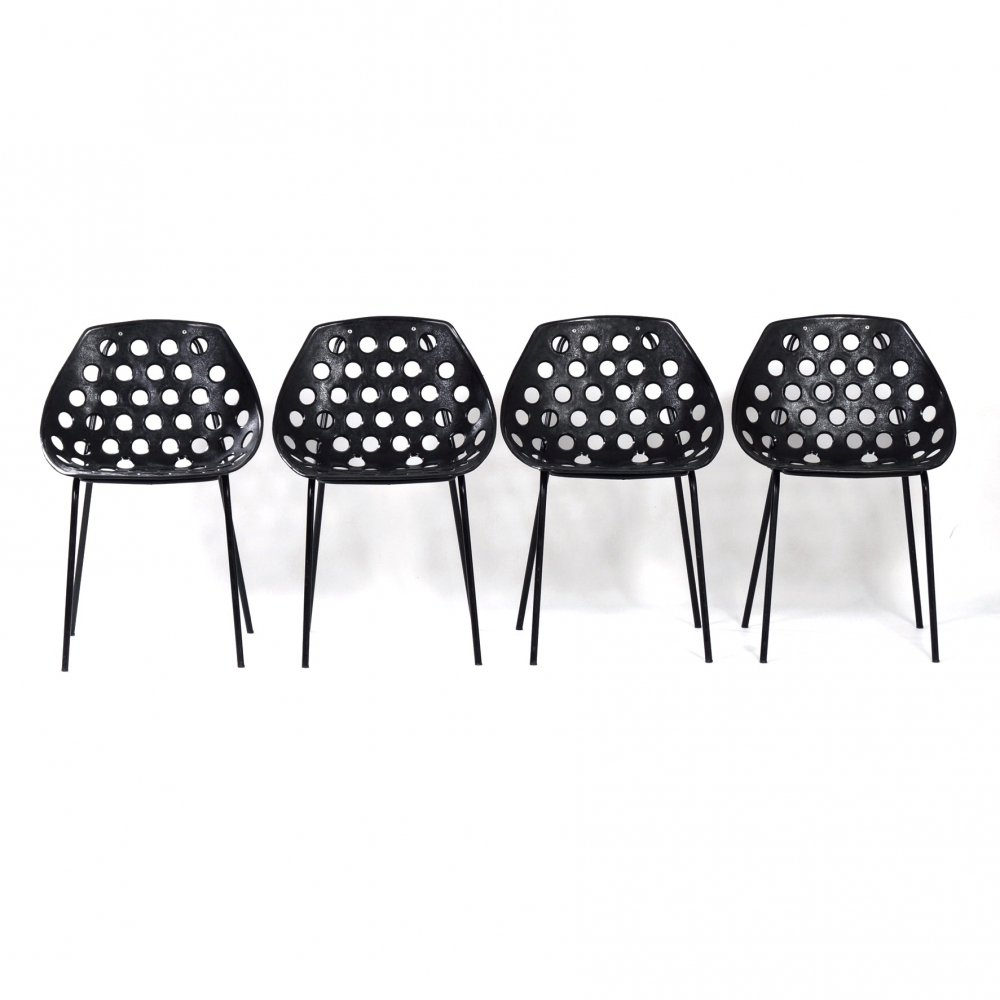 Set of 4 Deauville Chairs F320 by Pierre Guariche for Meurop, 1960s
