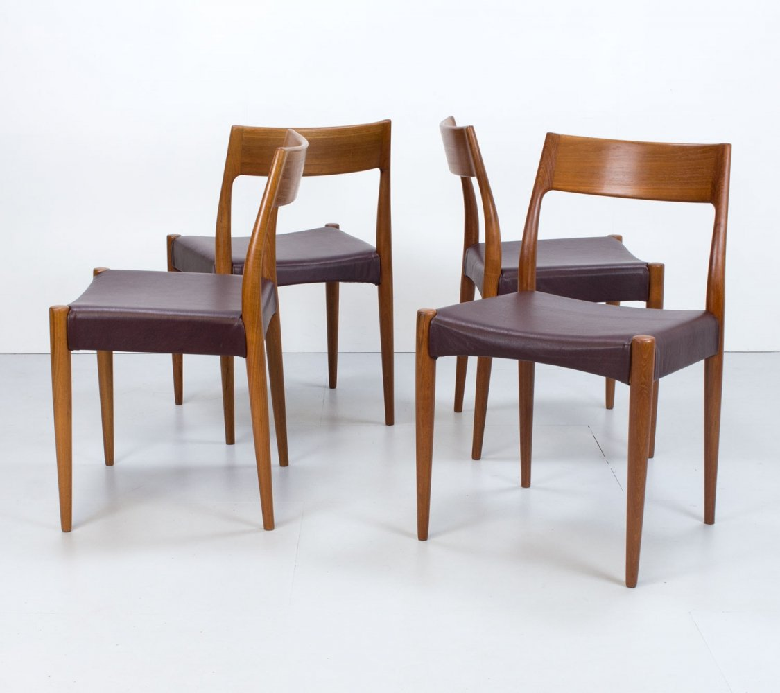 Danish Teak & Leather set of 4 Model 175 Dining Chairs by Mogens Kold, 1960s