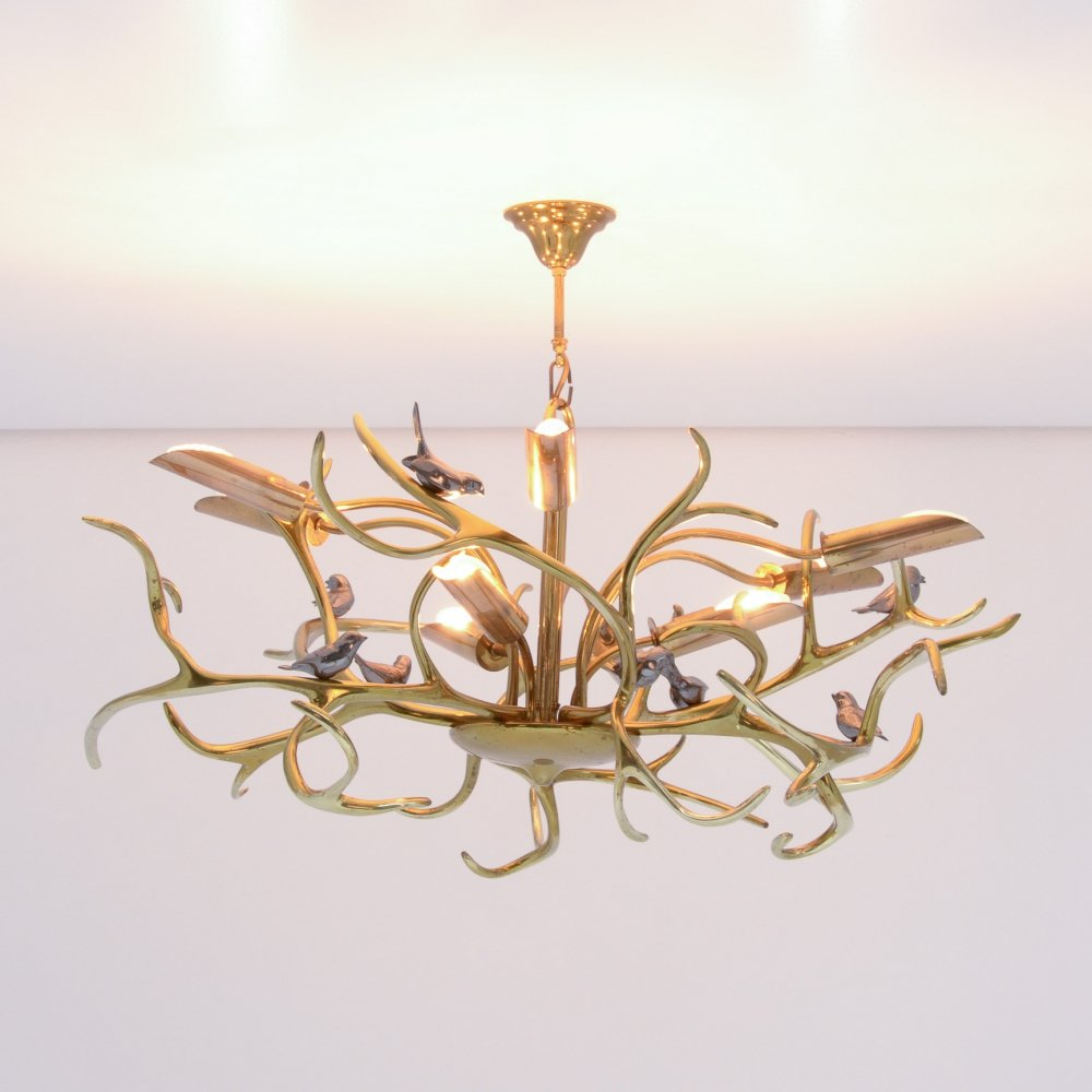 Brass Branches Chandelier by Willy Daro
