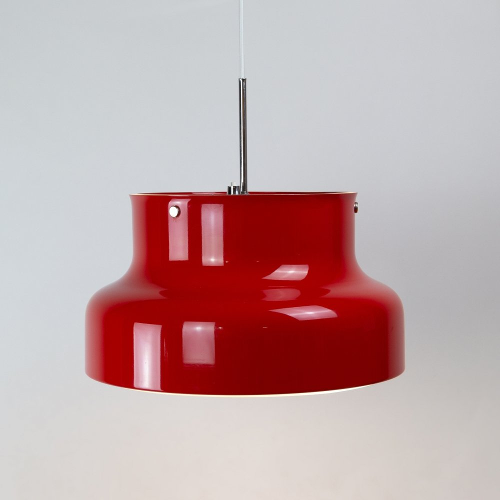 Red Bumling Pendant by Anders Pehrson for Ateljé Lyktan, Sweden 1960s