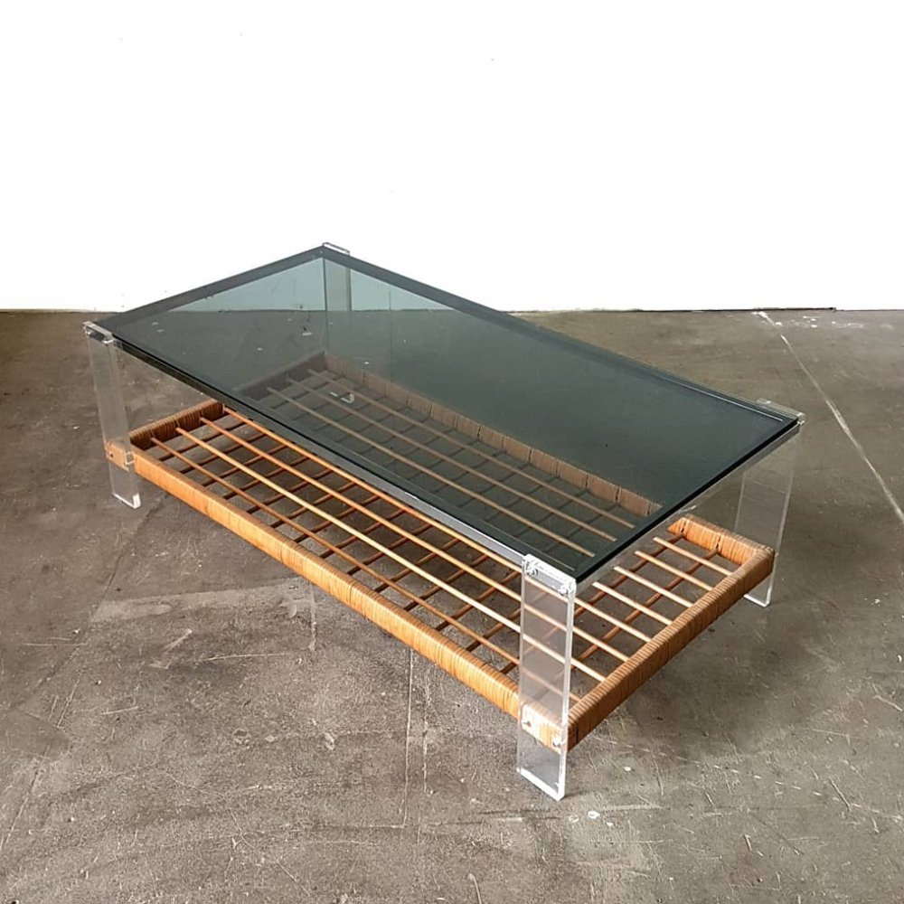 Chrome, lucite, smoked glass & rattan coffee table, Netherlands 1964