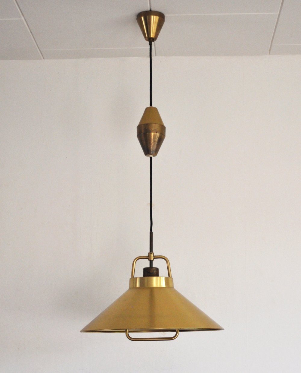 Patinated Brass Pendant by Frits Schlegel for Lyfa, Denmark 1960s