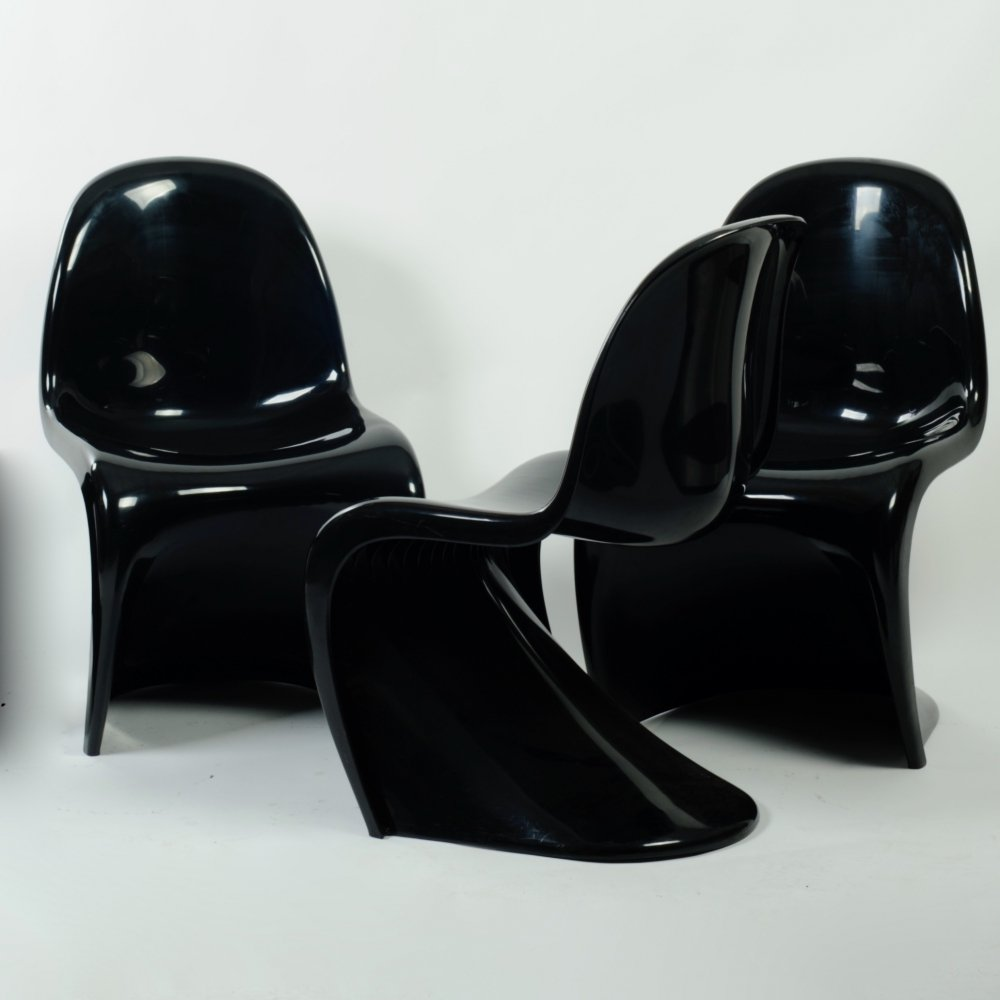 Set of 3 Herman Miller S chairs or Panton chairs, Fehlbaum edition 1974