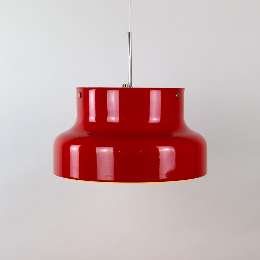 Red Bumling Pendant by Anders Pehrson for Ateljé Lyktan, Sweden 1970s